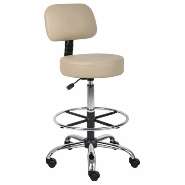 Boss Be Well Medical Spa Professional Adjustable Drafting Stool with Back and Removable Foot