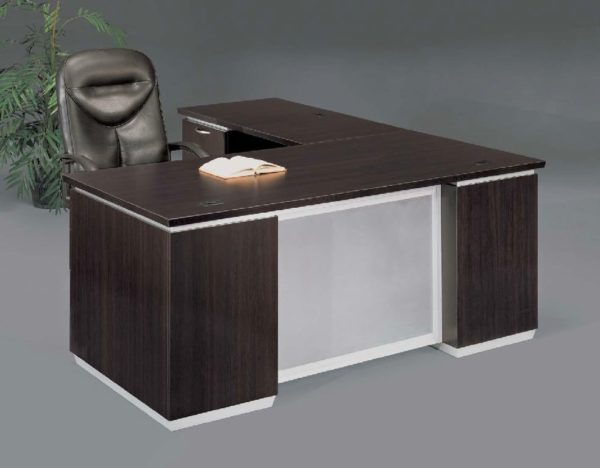 Left Executive L Desk With Frosted Glass Modesty Panel