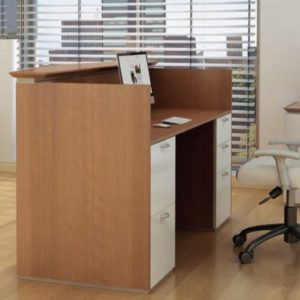 Reception Fan Top Double Pedestal Desk, Inset Modesty