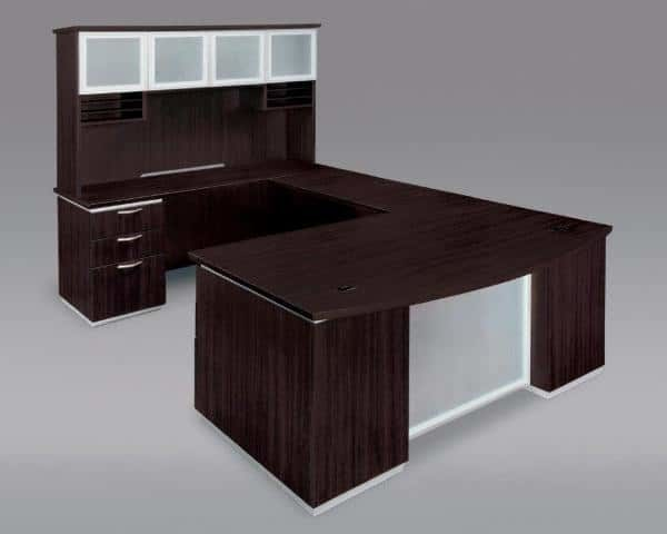 Left Executive Bow Front U Desk With Frosted Glass Modesty Panel
