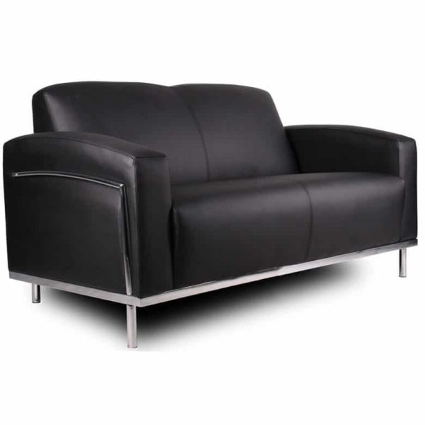Boss Black CaressoftPlus Loveseat W/Chrome Frame
