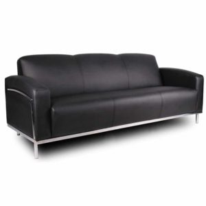 Boss Black CaressoftPlus Sofa W/Chrome Frame