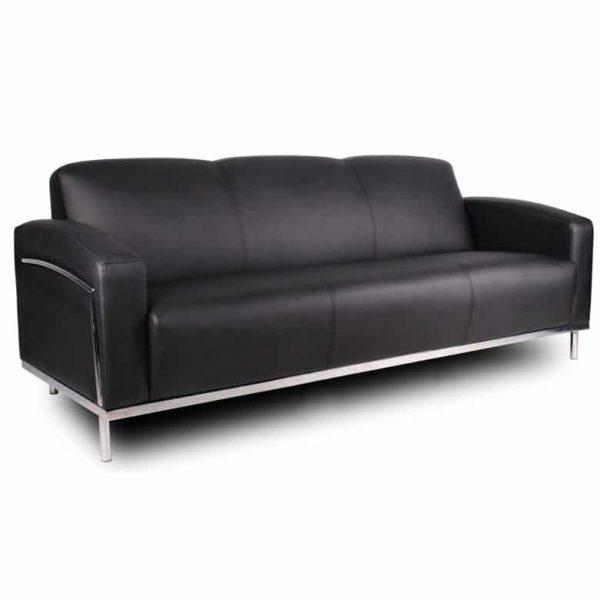 Boss Black CaressoftPlus Sofa W/Chrome Frame