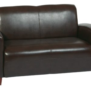Black Bonded Leather Love Seat