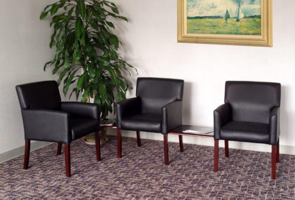 Boss Reception Box Arm Chair W/Mahogany Finish