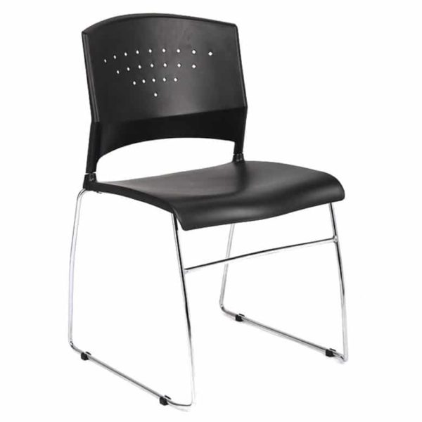 Boss Black Stack Chair With Chrome Frame