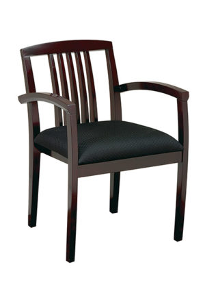 MAHOGANY FINISH LEG CHAIR WITH UPHOLSTERED SEAT AND WOOD SLAT BACK