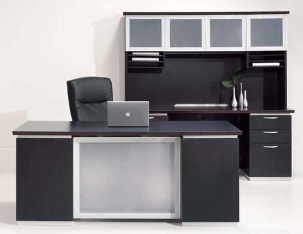 Executive Desk With Frosted Glass Modesty Pane