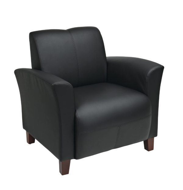 Black Bonded Leather Breeze Club Chair